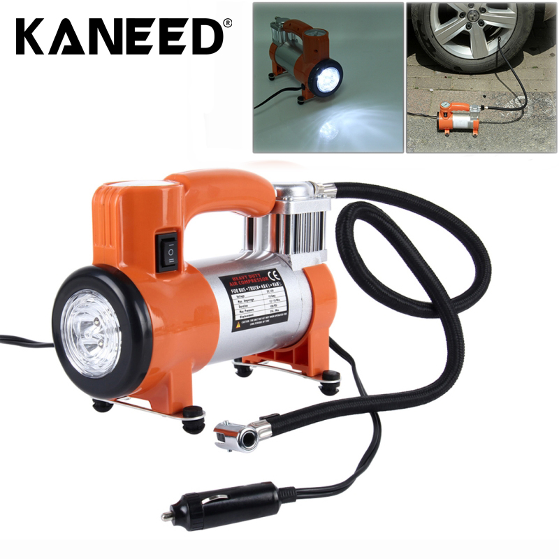 12V Air Pump with Gauge Portable Metal Cylinder Tire Inflator Compressor 5 Illumination LED Lamps for Trucks Cars Vans Air купить