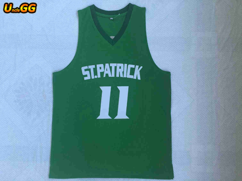 new york dd1ce cbb37 Uncle GG New Cheap Throwback Basketball Jersey Kyrie Irving 11 St. Patrick  High School Jerseys Green Stitched Retro Mens Shirts-in Basketball Jerseys  ...