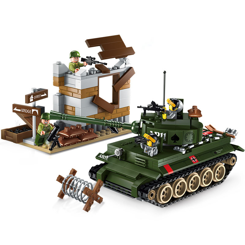 Models building toy ENLIGHTEN 1711 Tiger Tank Military Fighter Building Blocks compatible with lego military toys & hobbies цена