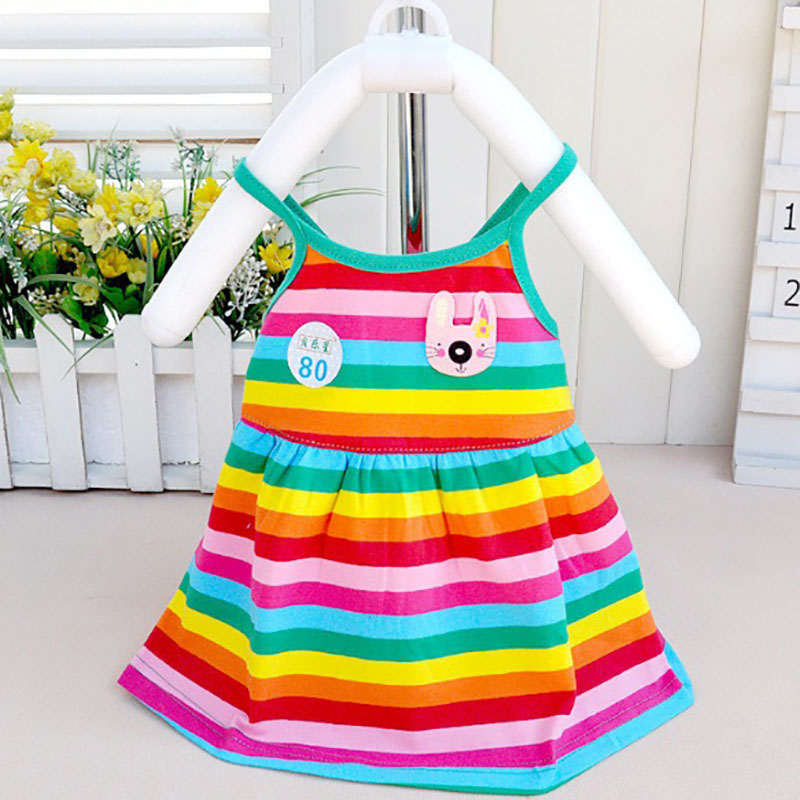 Summer dress Girls Strap Cotton Stripes Rainbow dress Female Baby girls Backless Princess dress Childrens clothes 1-2 years old