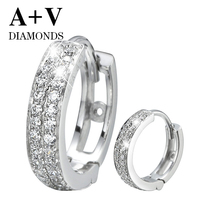 18K White Gold 0 87ct Nature Diamond Classic Round Hoop Earring For Women