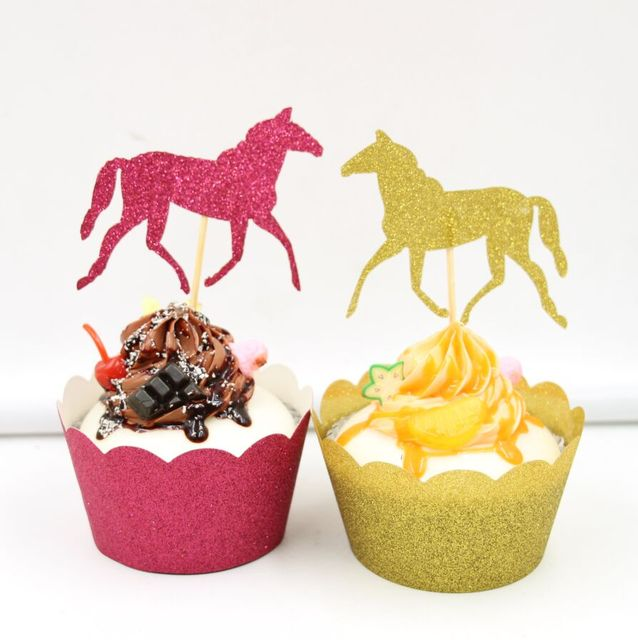 24 Sets Gold Pink Black Horse Cupcake Wrapper Toppers Children