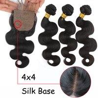 Eseewigs объемные волнистые пучки с шелковой основой Кружева Закрытие Remy человеческих волос расширение 4x4 кружева закрытие черные женские 3 пуч