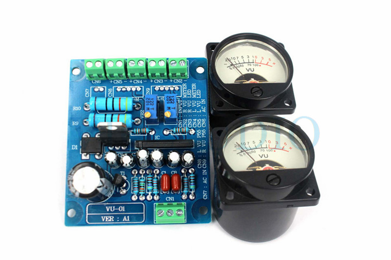 1Set 500VU Panel VU Meter Audio Level Meter 6-12V Audio Level With Warm BackLight Free Shipping