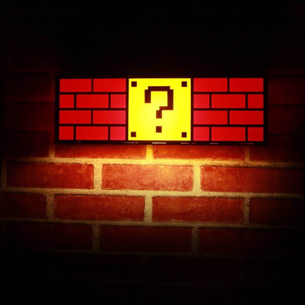 Coloré jeu vidéo point d'interrogation bloc suspension lampe créative en bois plafond pendentif lumière élégante lampe cadeau pour amoureux de jeu enfants