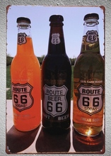 1 pc beer route 66 bar drink  Tin Plate Sign wall man cave Decoration Man Art Poster metal vintage