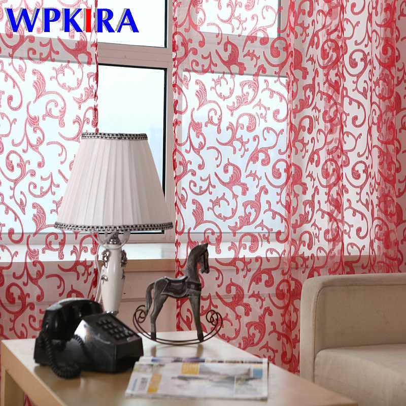 Modern Large Jacquard red coffee tulle for living room windows curtain treatment yellow pink panel sheer voile darpery wp173&3