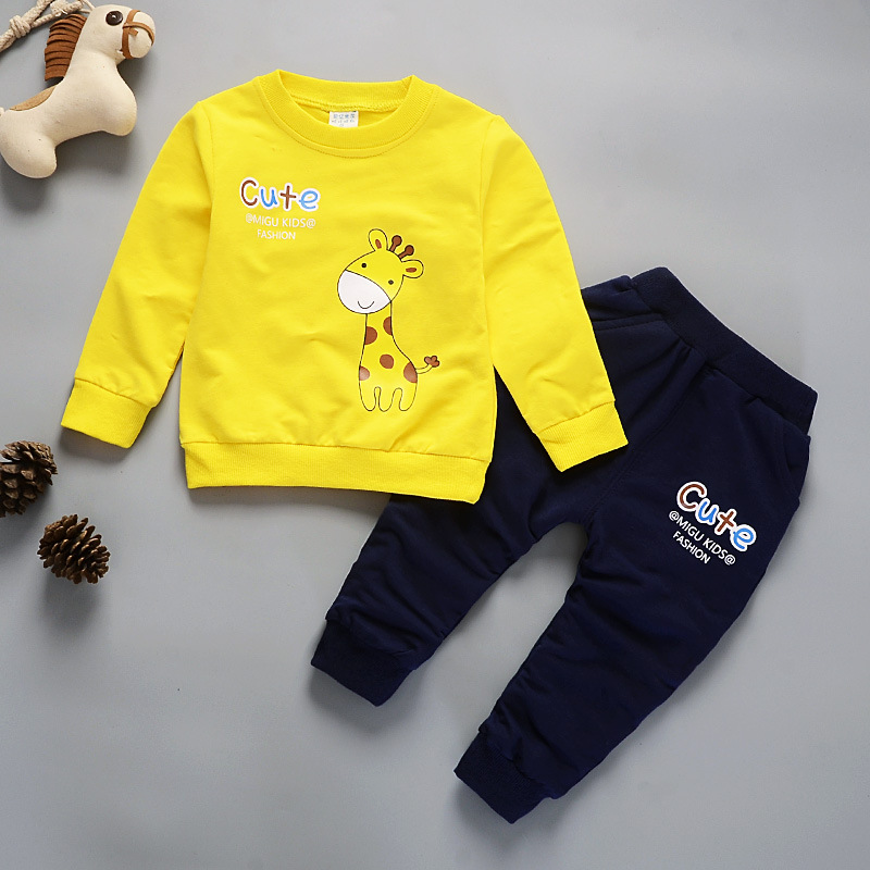 Baby Boys Girl Clothes 2018 Autumn Spring Giraffe Printing T-shirt+Pants 2PCS Infant Clothing Kids Bebes Jogging Suits Tracksuit