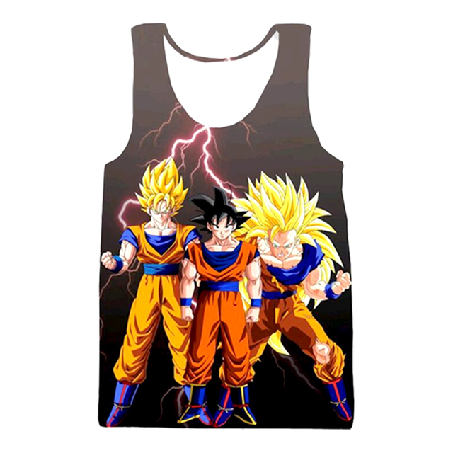 Dragon Ball Z Super Saiyan Goku Vegeta Majin Buu 3d Print Sleeveless Shirt Men Tank Top