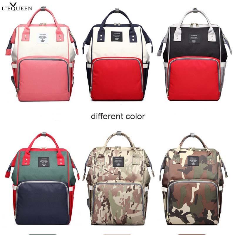 Lequeen Spliced Colors Mummy Bag Large Capacity Travel Nursing Bag Multiple Backpack Portable Nappy Bag Diaper Puerperal Bag
