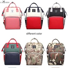 Lequeen Spliced  Colors Mummy Bag Large Capacity Travel Nursing Bag Multiple Backpack Portable Nappy Bag Diaper Puerperal Bag