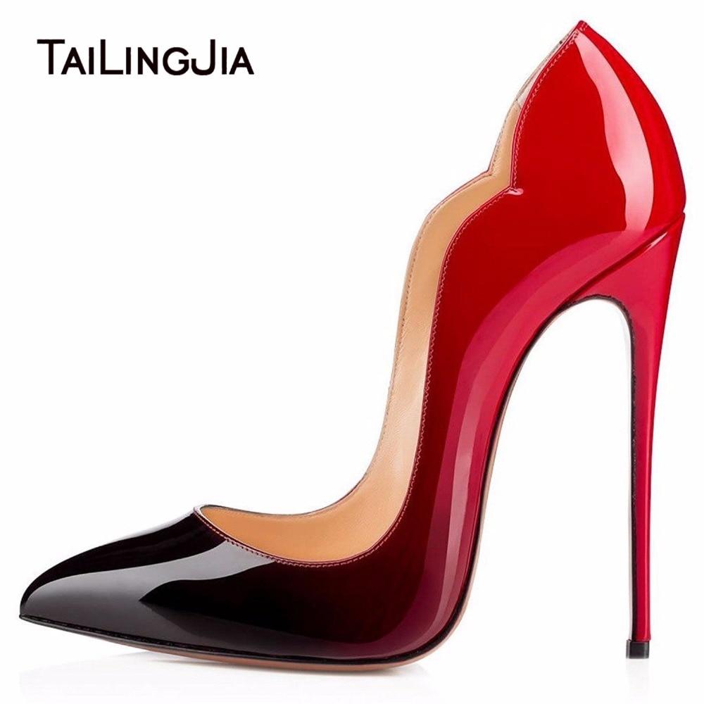Woman High Heels Pointed Toe Party Pumps Ladies Gradient Colorful Slip On Shoes Patent Leather Fashion Stilettos Plus Size Wholesale