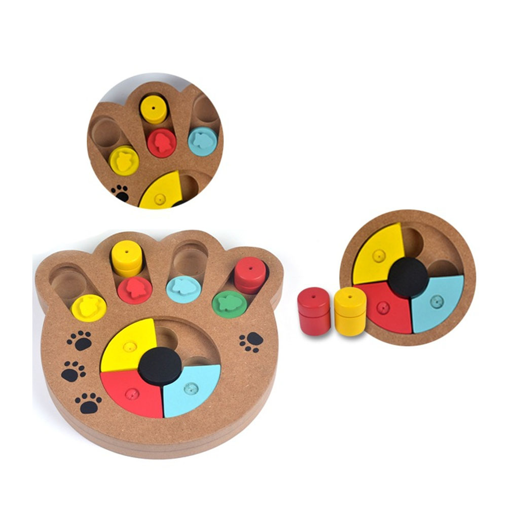 2019 Natural Food Treated Wooden Paw Shape Pet Dog Cat IQ Training Toys Educational Feeding Game Paw Puzzle Plate Playing Toy image