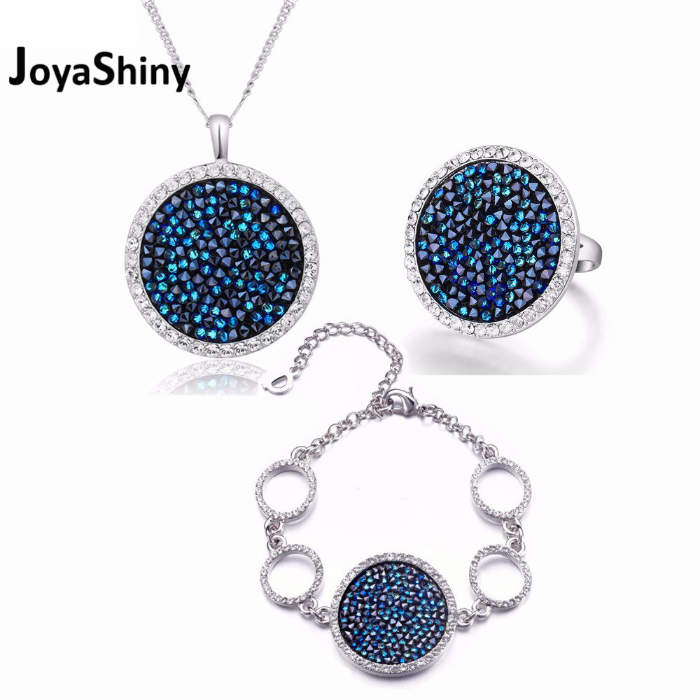 Joyashiny Pave Crystals Round Shape Necklace Bracelet Ring Jewelry Sets Luxury Party Women Jewelry Crystals from Swarovski baffin crystals pave jewelry sets round pendant necklace maxi rings luxury accessories for women made with swarovski elements