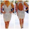 Luxuriant Heavy Beaded Short Cocktail Dresses Sexy Open Back Prom Party Gowns Vestidos De Festas Curto Vestidos Para Fiestas