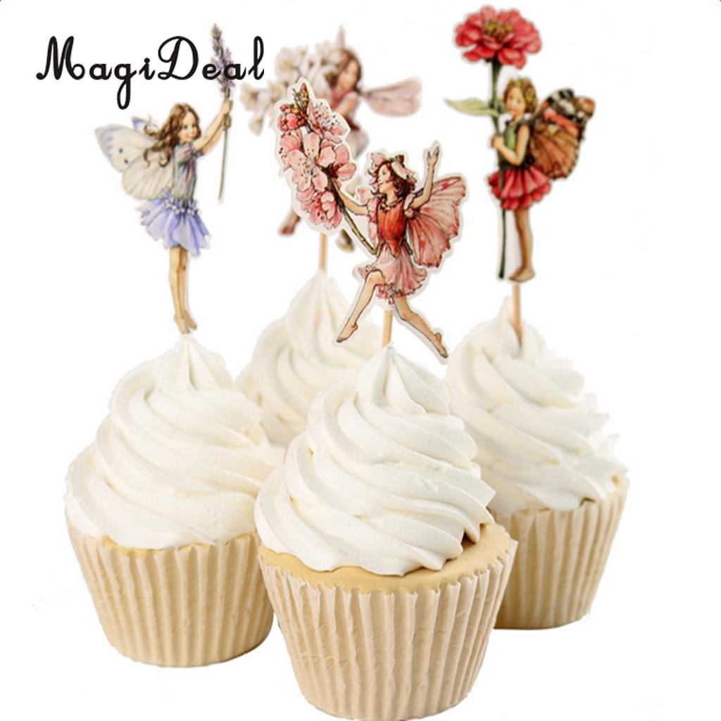 MagiDeal 24 Pieces Flower Fairy Cow Boy Cupcake Picks Cake Topper Children Birthday Party Cake Decor