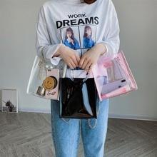 2019 fashion bucket bag ladies plastic transparent pink handbags composite chain shoulder messenger