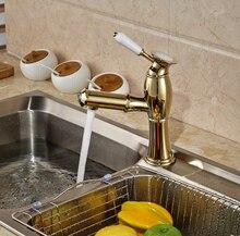 Золото Полированное Singel Lever Kitchen Одно Отверстие Смесителя Одной Ручкой Кран