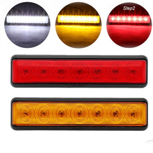 7 Led White/ Red/Amber 12V Car Vehicle Bus Turn Signal Light Clearance Off Road SUV Truck Trailer Reverse Stop Tail Lamp Night mayitr 12v 36 led rear tail light car truck brake stop indicator lamp trailer caravan reverse external light amber red white