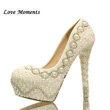 Love Moments white/ivory fashion womens wedding shoes woman high heel platform shoes gentlewomen bridal shoes female High Pumps