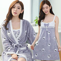 Chinese Style Winter Coral Velvet Sexy Pajamas Dress Sling Thick Flannel Pijama Women Temperament Warm Fashion Sexy Lingerie Set
