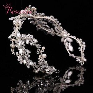 Image 4 - Bandeau de mariée en cristal de luxe avec strass, accessoires pour cheveux, diadèmes de mariée, bandeau élégant fait à la main, RE731