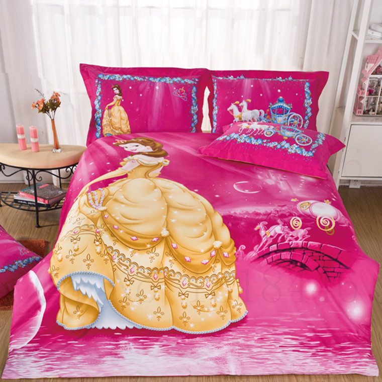 Fairy Beautyu0026 Beast BELLE PRINCESS In Pink Red Girls Cotton Bedding Set 3d  Double Single Beddings King Twin Queen Size FL In Bedding Sets From Home U0026  Garden ...