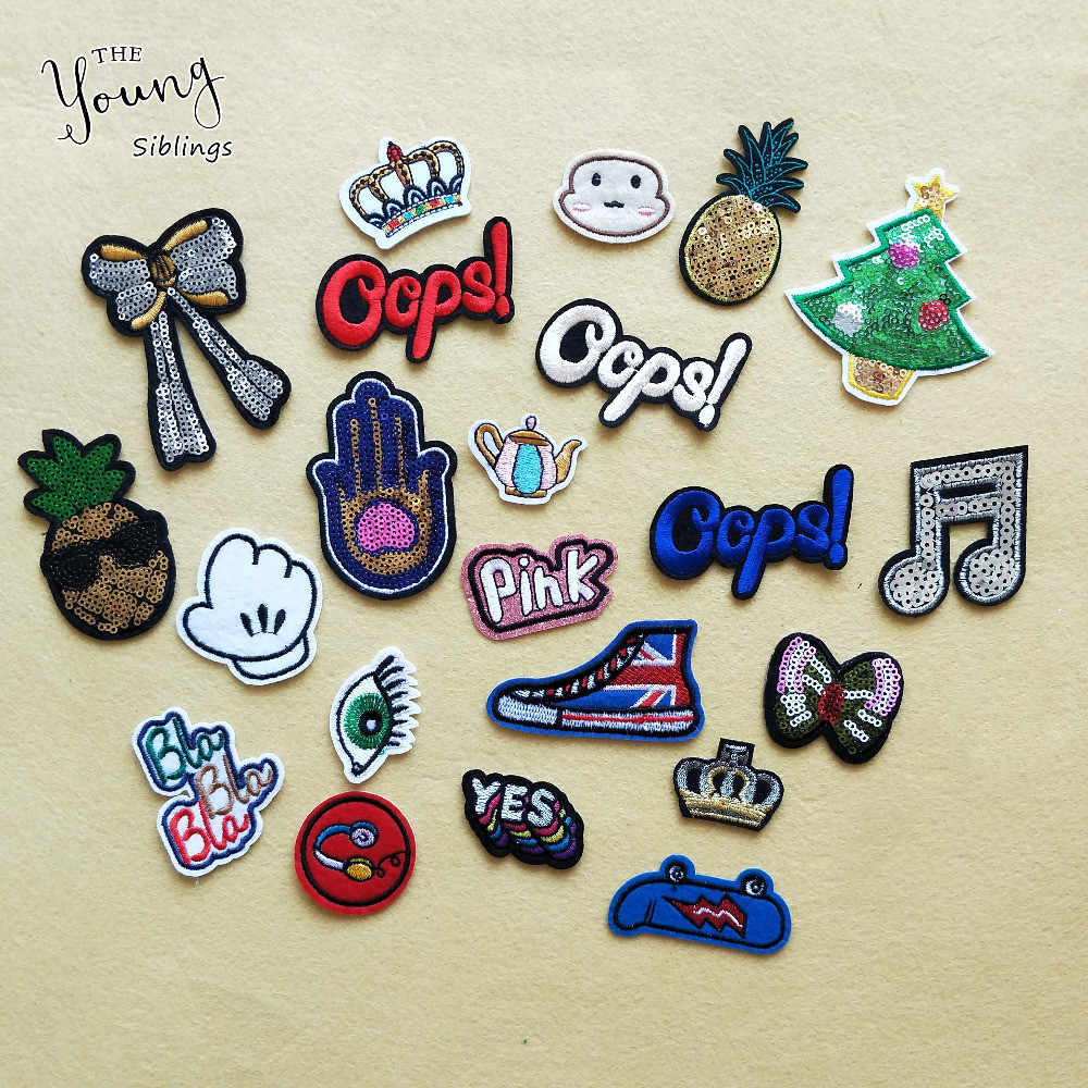 Cute Stickershot letter bowknot crown melt adhesive patches iron for clothes Mixture embroidery badge DIY Apparel accessory
