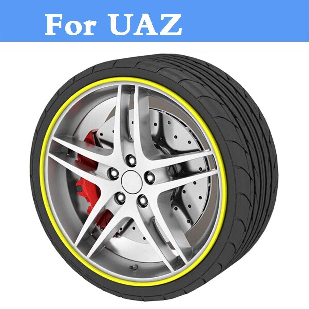 8M Car Wheel Hub Tire Sticker Decorative Strip/Rim Care Covers For UAZ 31512 3153 3159 3162 Simbir 469 Hunter Patriot