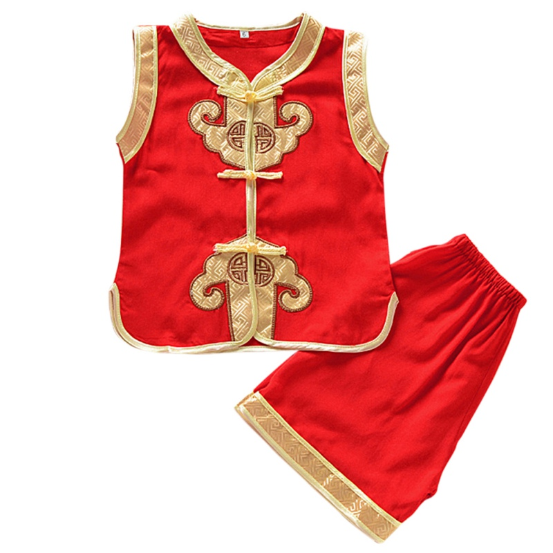 Summer Childrens Wear Boys Pure And Fresh Long Sleeve Cotton Chinese Style Comfortable Shirt+Pant Cloting Set 12M-5T