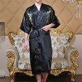 Classic Men National Wind Embroidered Summer Bathrobe Leisurewear Pajamas Lacing Long Nightgown Print Half Sleeve Silk Smooth