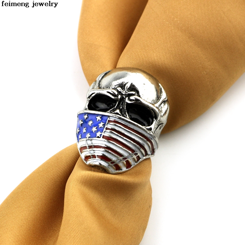 Wholesale 20pc/lot new style American Flag Stainless Steel Skull Ring For Man Personalit ...