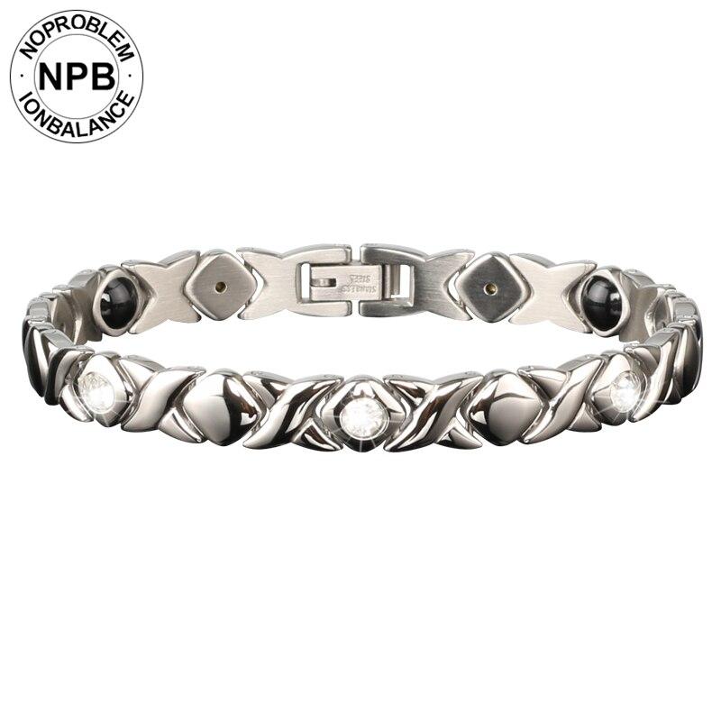 Noproblem 022 FDA anti-fatigue santé power infinity thérapie charme argent métal tourmaline germanium bracelet pour dame