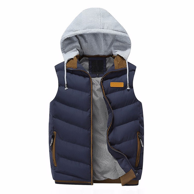 Brand Men Winter Casual Windproof jacket Vests Men Sleeveless Hoodie Coats Male Warm Cotton-Padded thicken down Waistcoat