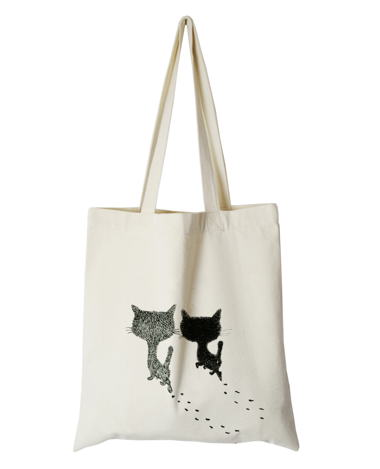 cute cat series canvas custom tote bag customized eco bags custom made shopping bags with logo  Dachshund Shepherd Dog Poodle (5)