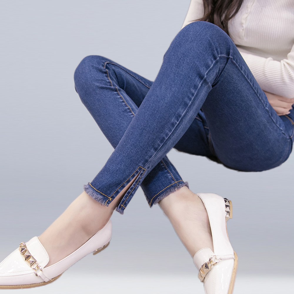 New Women High Waist   Jeans   Stretch Slim Pencil Pants Split Tassel Washed Denim   Jeans   Casual Fashion Sexy Black Gray Blue   Jeans