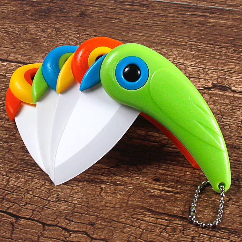 Mini Bird Ceramic Knife Gift Knife Pocket Ceramic Folding Knives Kitchen Fruit Paring Knife With Colourful ABS Handle