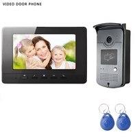 Hotsale Wire video door phone intercom system 7inch hd screen with night vision RFID outdoor camera video door phone villa metal