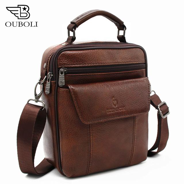 OUBOILI Luxo 100% Dos Homens de Couro Genuíno Saco de Homens Bolsa de Ombro Da Pele Do Couro Maleta sacos de homens mensageiro de alta qualidade bolsas