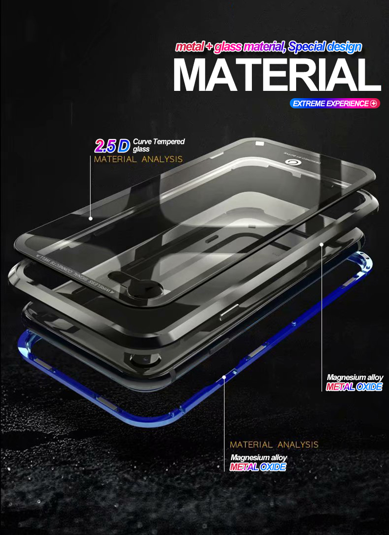 iPhone X 8 Metal Frame Tempered Glass Case For iPhone 7 8 Plus Built-in Magnet Case