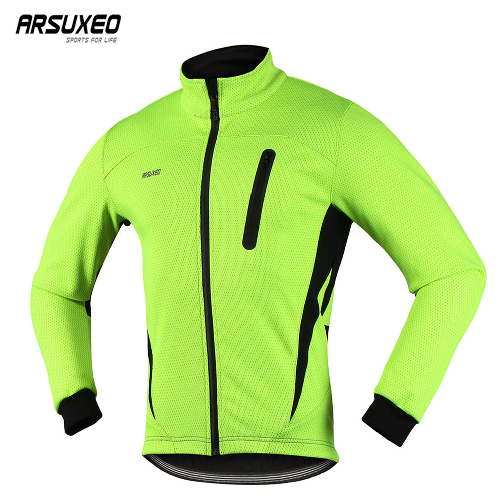 ARSUXEO Men Cycling Jacket Thermal Fleeces Winter Warm Up Bicycle Clothing Sports Coat MTB Bike Jersey