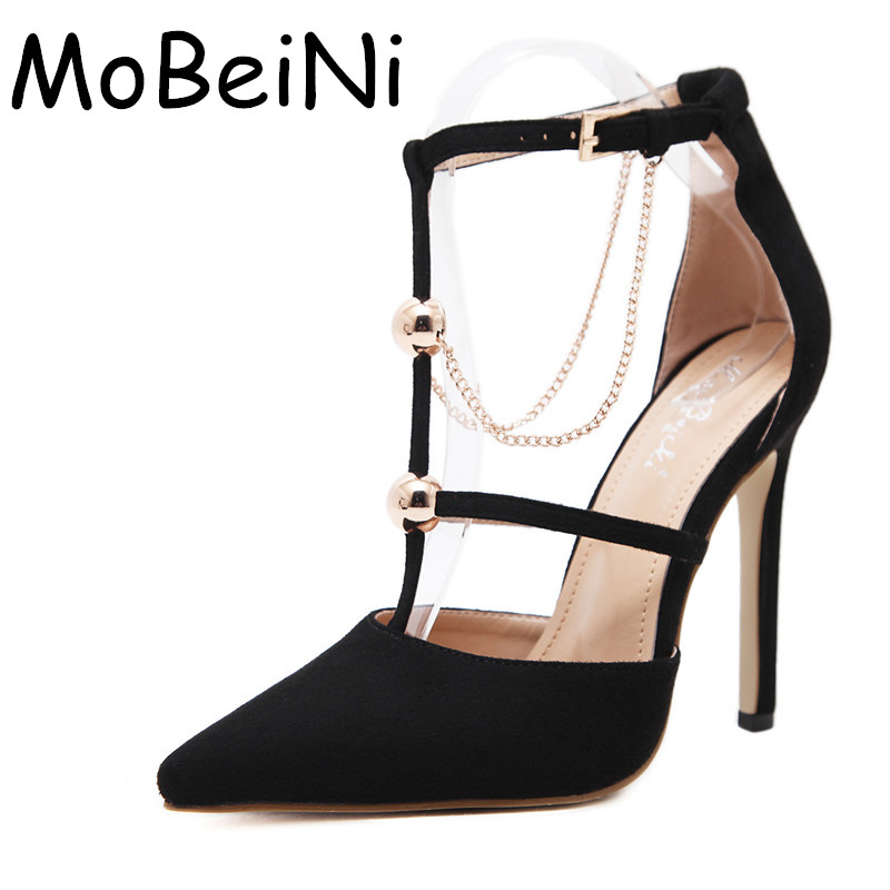 Women Pumps Fashion Designer Metal Chain T-Strap Buckle High Heels Sexy Pointed Toe Stiletto Pumps Ladies Elegant Wedding Shoes genshuo 2017 women sexy valentine pointed toe stiletto high heels shoes ladies wedding dress bridal designer pumps zapatos mujer