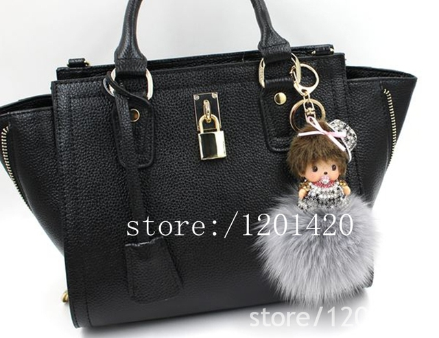 MONCHHICHI handbag charm  cartoon shaped crystal grey rabbit fur pom pom  key chains  bag bug bag