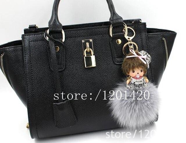 Monchhichi сумочка шарм мини-мультфильм форме кристалл серый мех кролика пом брелки сумка bug bag