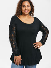 Wipalo Plus Size Women Appliqued Cutwork Lace Long Sleeve T-Shirt Curvy  Tunic Tee Casual Female Black T Shirts Tops Big Size c749ccfd3ffd