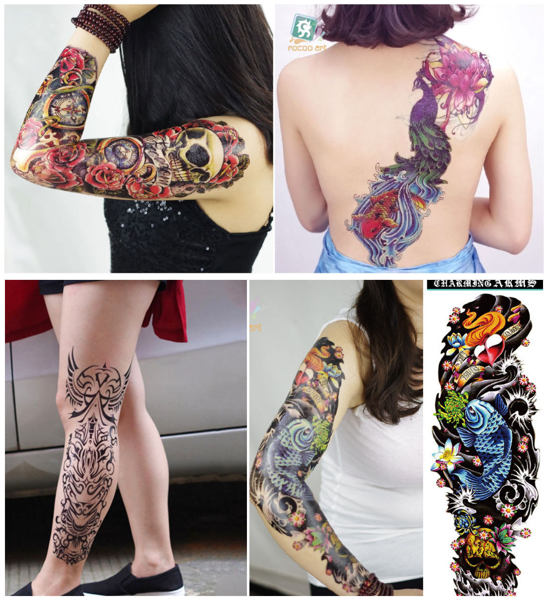 17 new fashion 48 X 15CM cool body art waterproof men and women temporary Full arm tattoo (6 design) stickers for boys girls 3