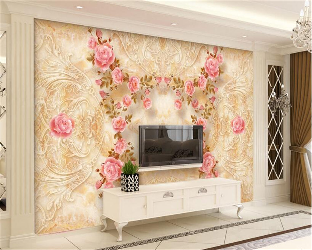 Beibehang 3d Wallpaper Marmor Muster Reliefs Rose Stein Fliesen Wand Hintergrund Wohnzimmer Schlafzimmer Wandbild