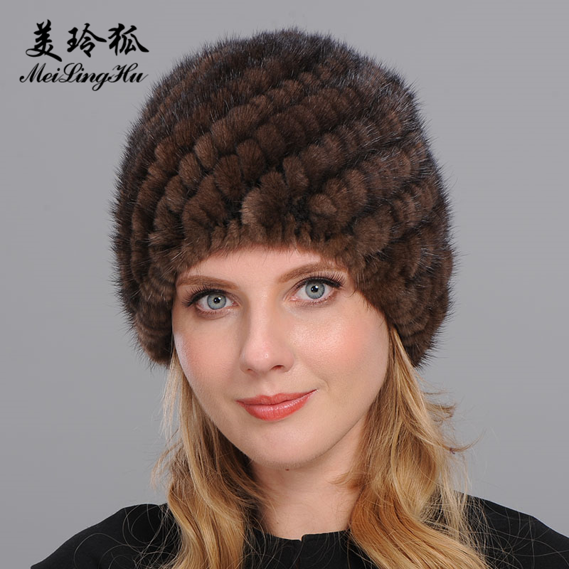 2017 New Genuine Mink Fur Hat with Ears