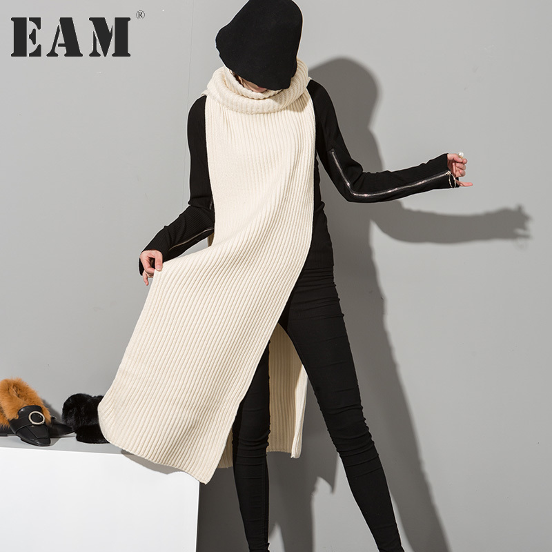 [EAM] 2018 New Autumn Korean Fashion Solid College Wind Big High Collar Warm Wool Women Scarves Wholesale All-match