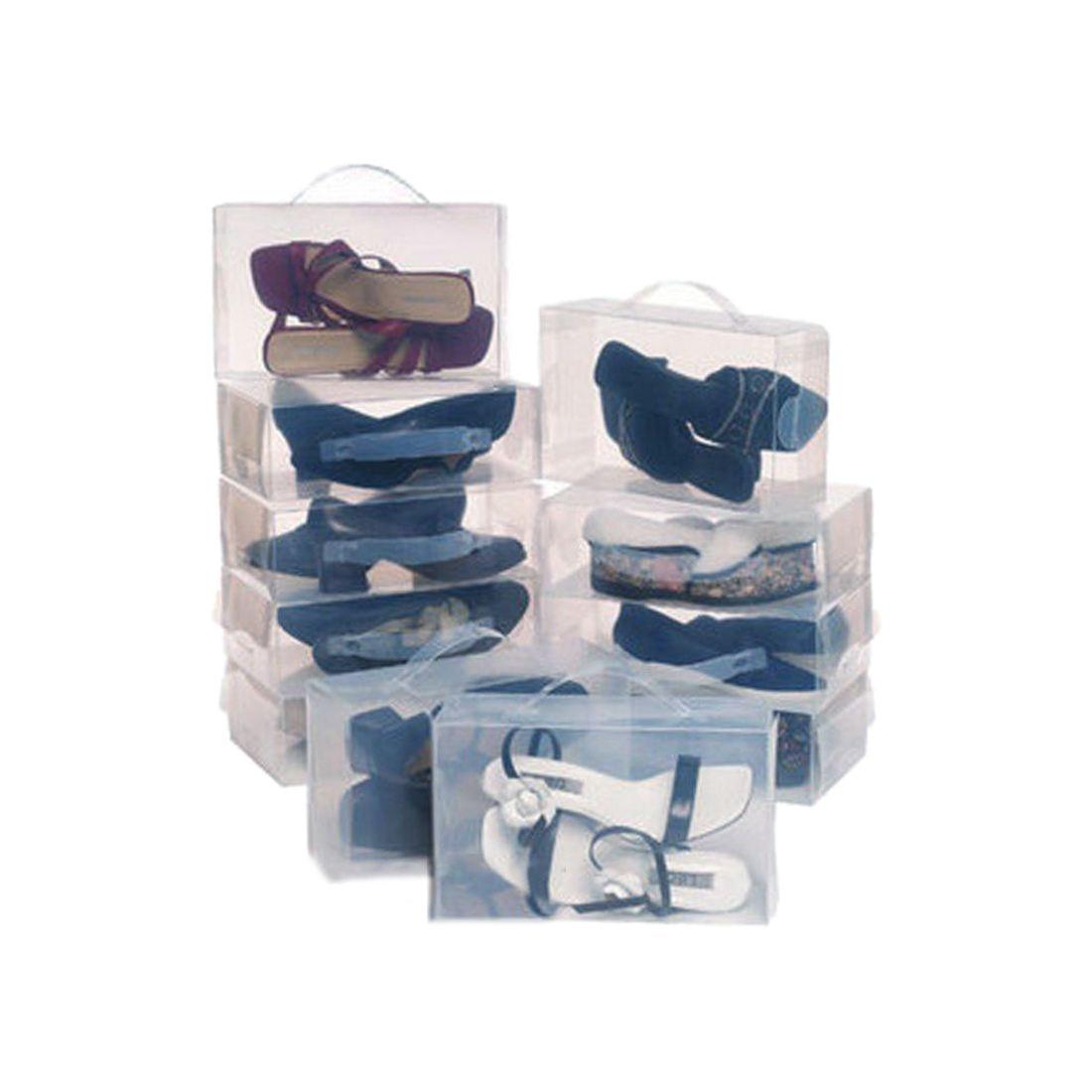 22 Дамы Мужские Стекируемый Пластик ясно обувной коробки Коробки органайзер для хранения складной-прозрачный цвет
